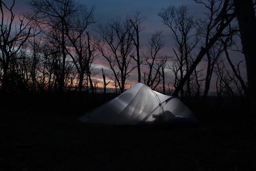 camping sunset virginia spring glow tent hike westvirginia georgewashingtonnationalforest