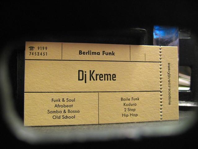Djkreme1 Visitenkarte Für Einen Dj Mit Perforation Gedruc