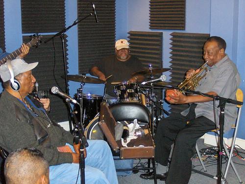 Bob French, Bunchee Johnson, and Dave Bartholomew at WWOZ 2009.