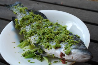 Raw - Steamed Barramundi with Minced Ginger and Chinese Celery   by avlxyz