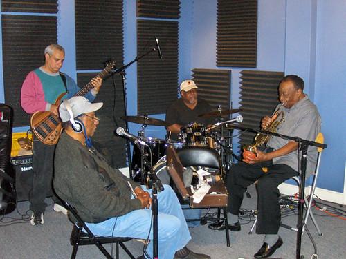 Charles Moore, Bob French, Bunchee Johnson, and Dave Bartholomew at WWOZ 2009