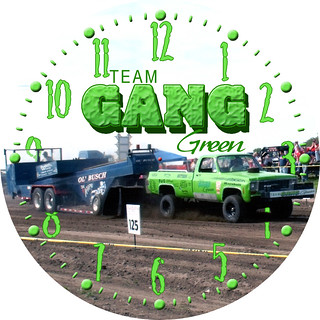Team Gang Green Truck Pulling Clock | by customclockface