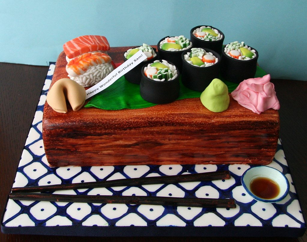 Fantastic Sushi Cake Cake Design Based On Elisa Strauss Leaf Design Flickr Personalised Birthday Cards Veneteletsinfo