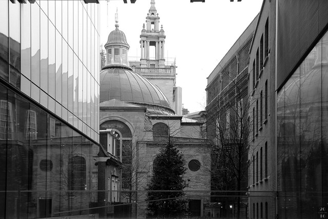 St. Stephen's Walbrook Church seen from the court of N M Rothschild & Sons