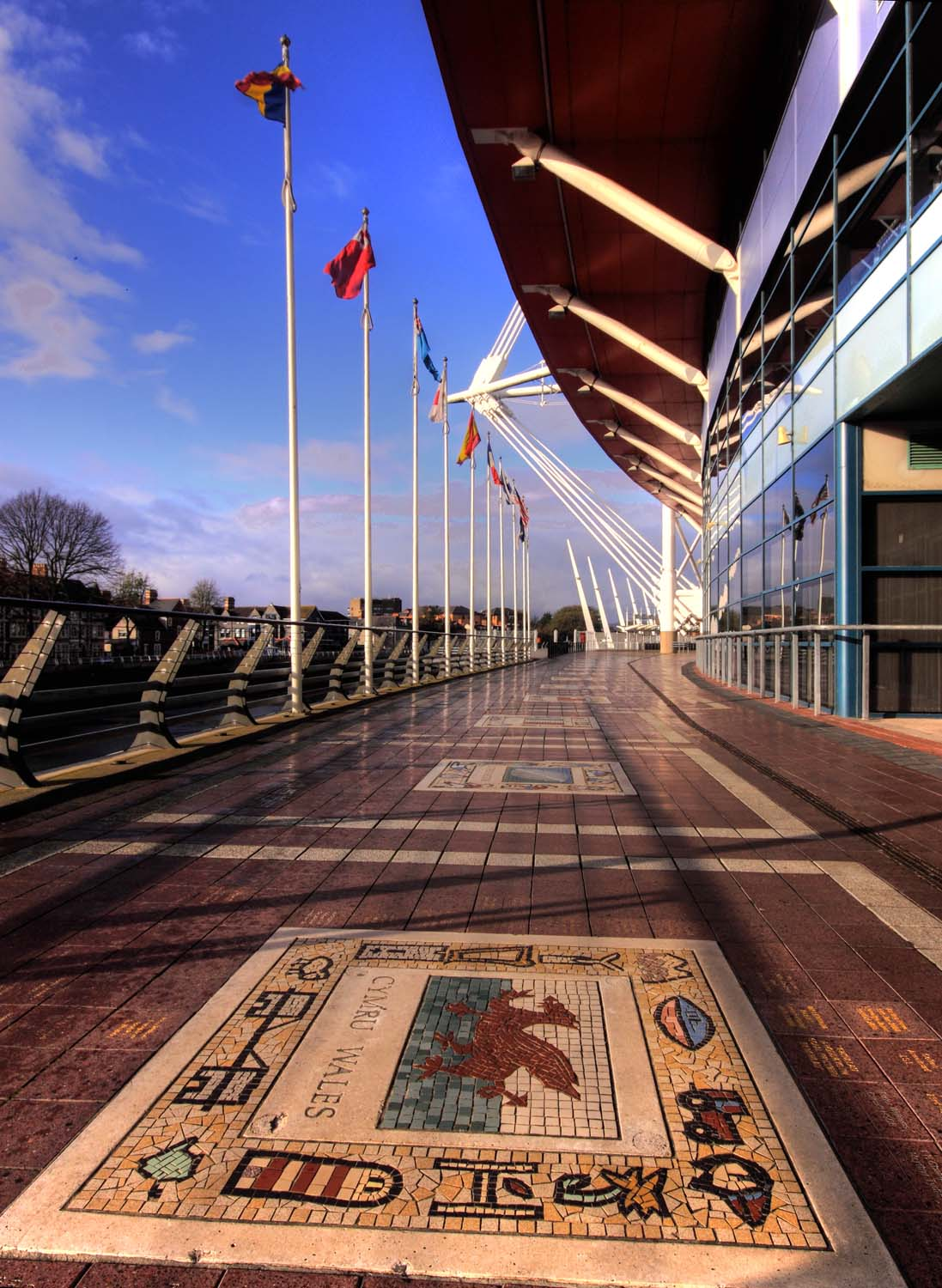 Cardif,Cardiff,rugby,stadium,2000,Millenium,pitch,capital,city,national,flags,waterfront,blue,sky,HotpixOrgUK,365days,building,architecture,sport,wales,welsh,UK,GB,britain,cymru,gymru,stadia,sign,art,country,HDR,high dynamic range,wide,superwide,sporting,action,play,players,staidum,tonysmith,tony,smith,interesting,place,places,sigma,wide angle lens,buildings,built,hotpix!,#tonysmithhotpix