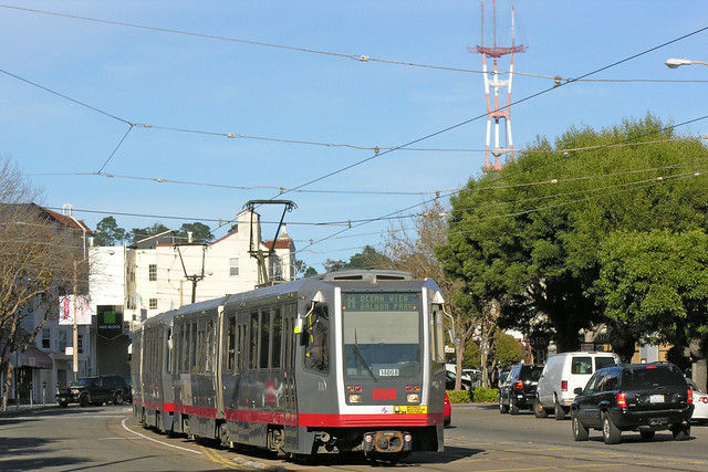 SF Muni Line M - 1486 on West Portal Ave approaching St Francis Circle