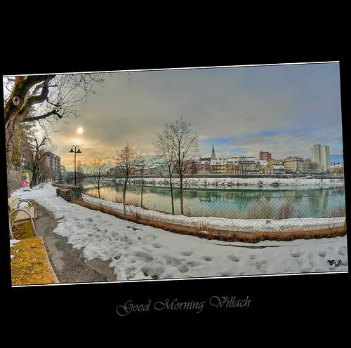 city morning skyline river fisheye stadt fluss villach drau draupromenade nikond300samyang8mm