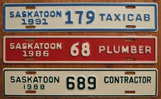 SASKATOON, SASKATCHEWAN  ---TAXICAB, PLUMBER and CONTRACTOR, SUPPLEMENTAL PLATES
