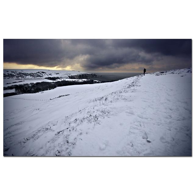 Shooting landscapes under snow-laden skies... Looking towards the Needles, from Headon Warren, Isle of Wight, UK.