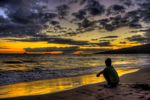 ocean boy sunset red reflection beach water silhouette yellow night clouds boats gold hawaii evening sand pacific ships shoreline wave maui shore ripples kihei theunforgettablepictures