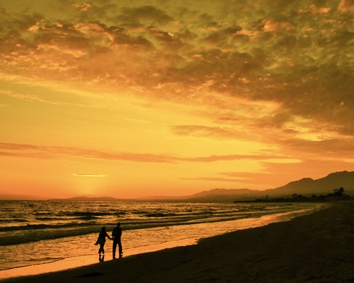 ocean sunset mountains beach me water sand surf with pacific walk silhouettes hills