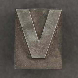 Caslon metal type letter V | by Leo Reynolds