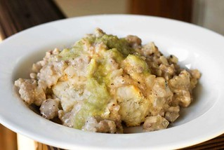 cheddar-rosemary biscuits with sake-sausage gravy and a pickled pepper puree | by aarn!