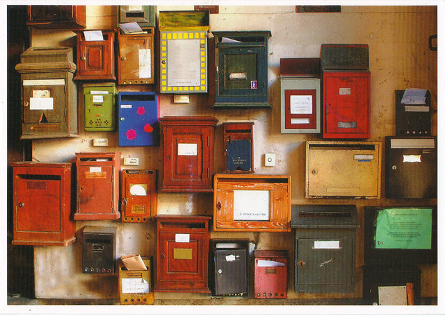 German Colorful Mailboxes Postcard