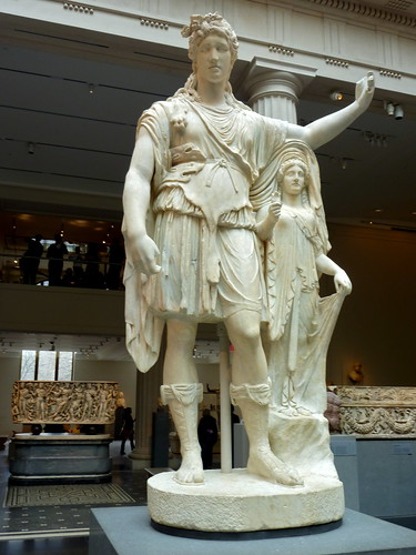 Roman Marble Statue Of Dionysos Leaning On A Female Figure