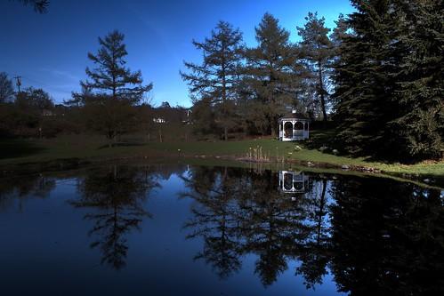 trees ny nature water outdoors pond gazebo neighbor hdr dryden photomatixpro