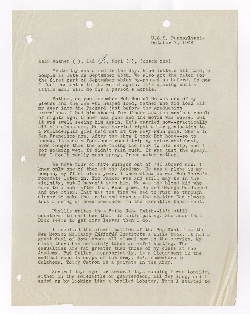 LETTER CLIFTON CATES JR TO FATHER 7 OCTOBER 1944 PAGE FLICKR