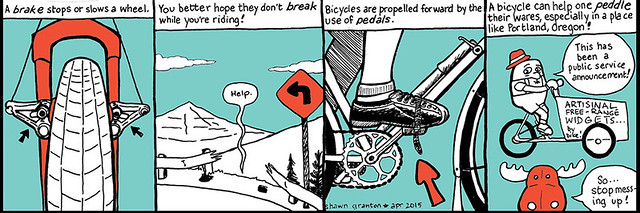 A public service announcement. (Brake vs break, pedal vs peddle)