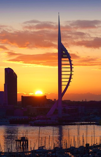 orange sun news tower silhouette clouds sunrise silver dawn early glow harbour portsmouth spinnaker masts cloudscapes gosport edged