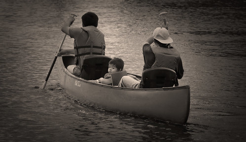 family boy sunset bw river fun outdoors boat blackwhite nikon child canoe boating passenger recreation nikkor polarizer paddling lifevest vr outing lifepreserver 18200mm ftmyersflorida manateepark d300s