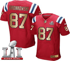 Nike Patriots #87 Rob Gronkowski Red Alternate Super Bowl LI 51 Men's Stitched NFL Elite Gold Jersey