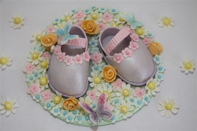 BABY SHOES TOPPER FOR CHRISTENING CAKE