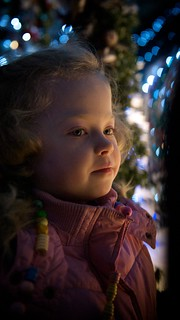 Elizabeth watching the Elves in Santas Grotto