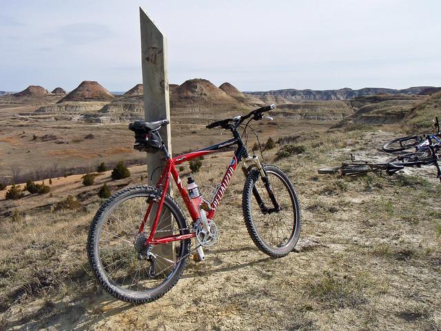 Bike at a Trail Marker