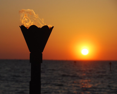 sunset red sea orange beach water club tampa mexico fire bay harbor gulf little florida harbour resort flame torch bahia tiki ruskin