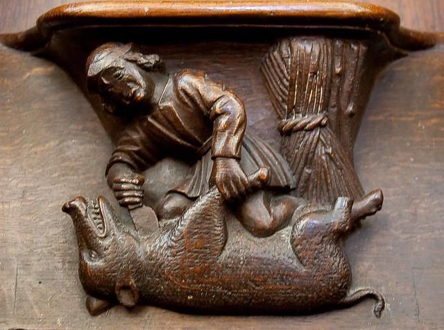 Vendome - La Trinite - Choir Stalls - Man Killing a Boar