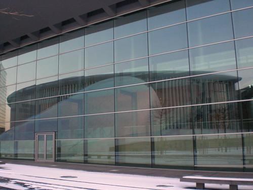Réflexion de la Philharmonie dans les vitres du Centre de Conférences et de Congrès International (CCI) | by lou_schwartz