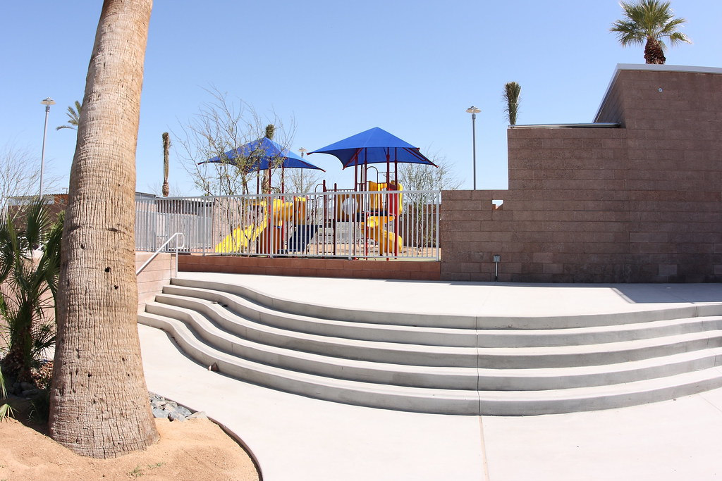 New playground and patio at the renovated North Shore Beach & Yacht Club at the Salton Sea.