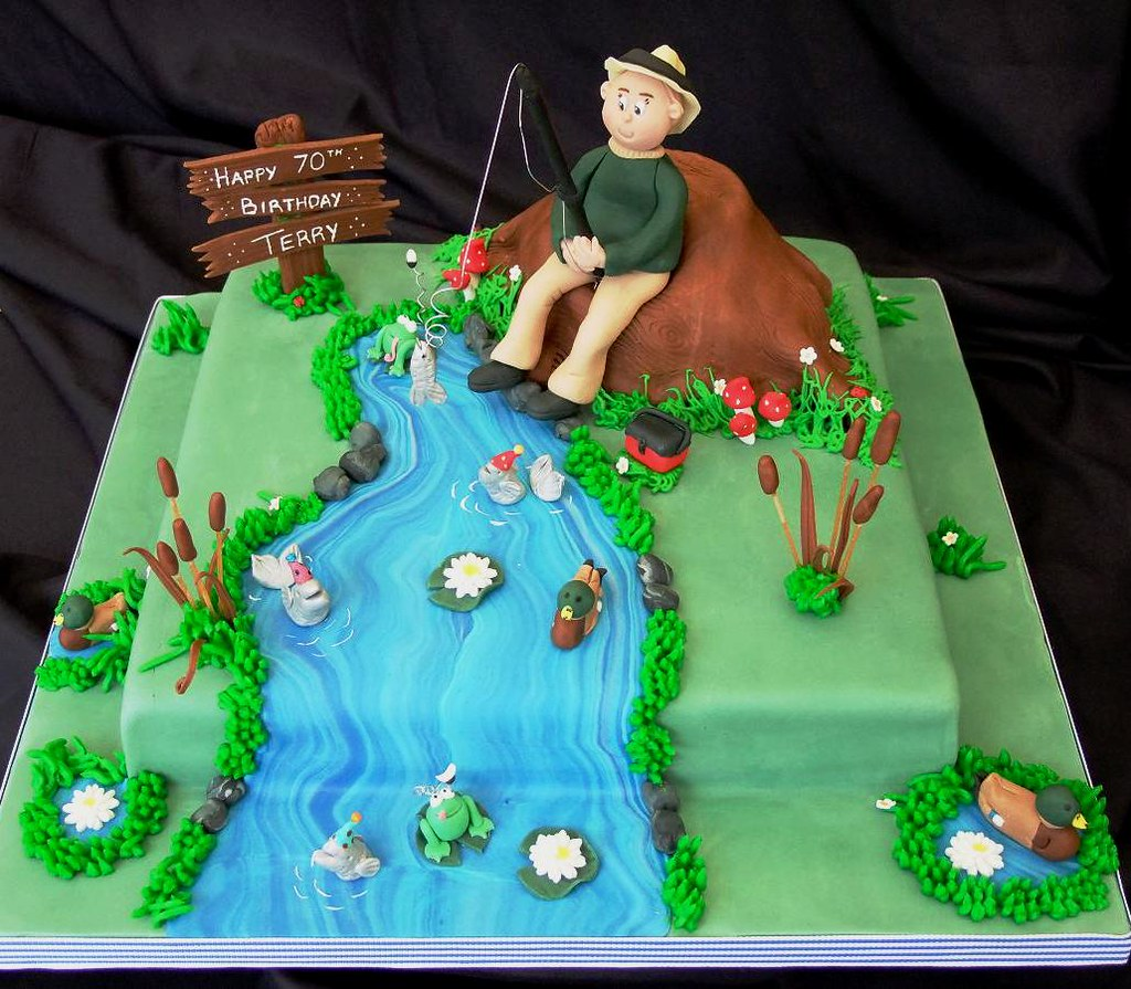 Wondrous Fishing Cake For 70Th Birthday Clare Mcguire Flickr Funny Birthday Cards Online Overcheapnameinfo