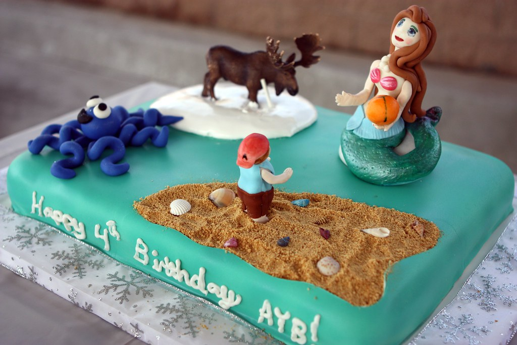 Incredible Mermaid Moose And Boy With A Beach Ball Birthday Cake A Photo On Funny Birthday Cards Online Overcheapnameinfo