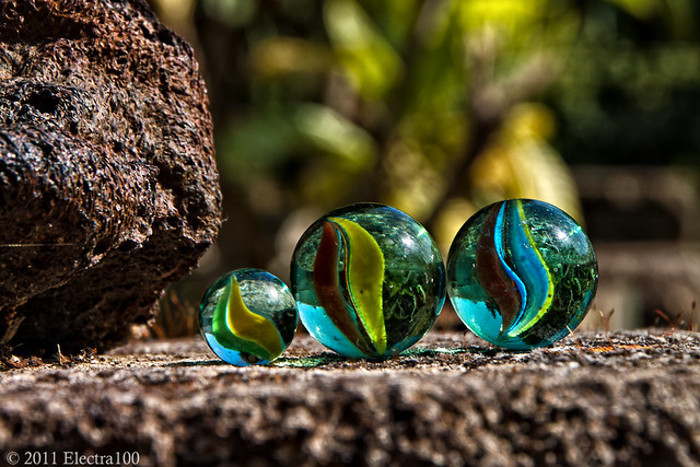 Canicas de cristal llamadas tréboles...