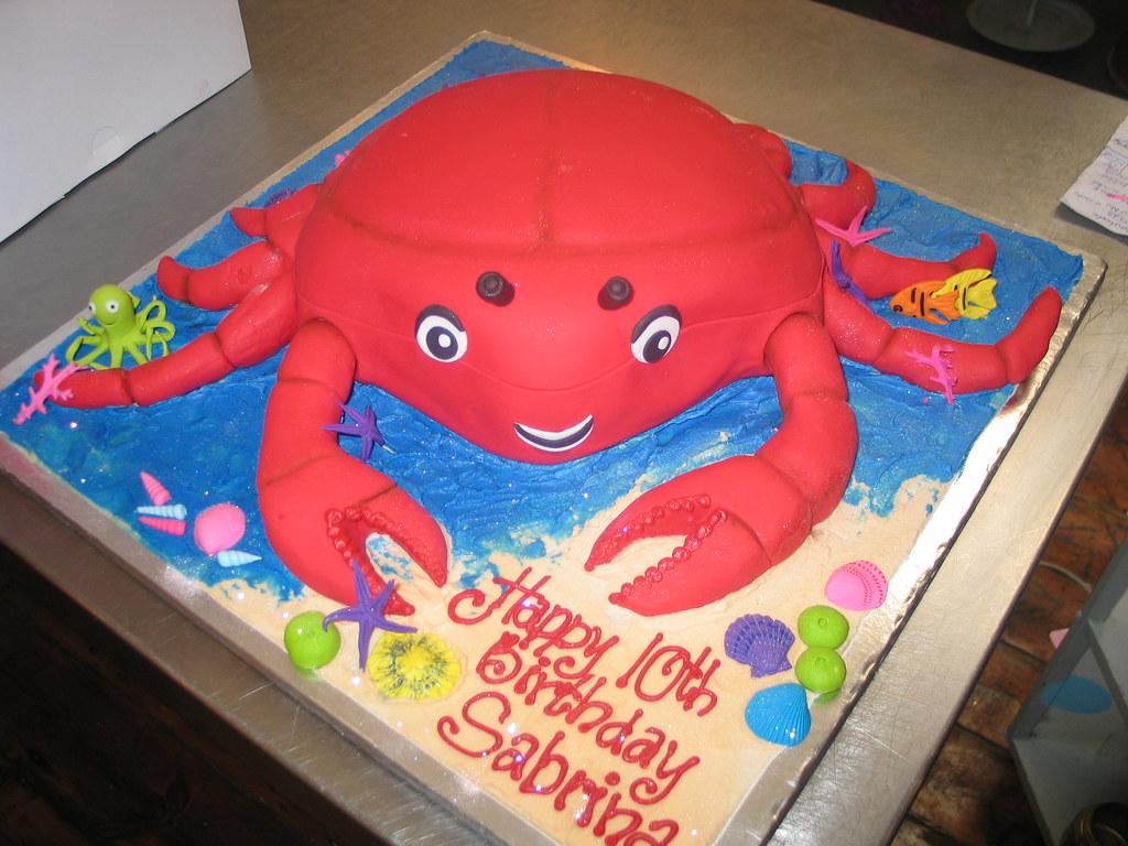 Fantastic Crab Birthday Cake Fondant Iced With Sea Scene On Board Flickr Funny Birthday Cards Online Necthendildamsfinfo