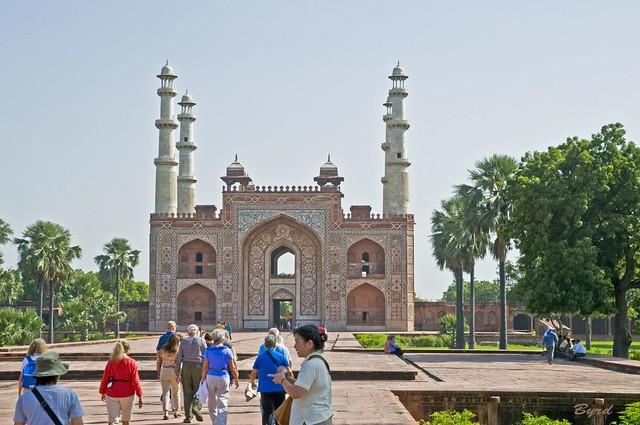 Inside the Main gate to Akbar's Mausoleum complex (circa. 1600) - Mughal style architecture