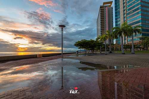 zaj ilovetrinidadandtobagocom trinidadandtobagophotography goldenhour seascape sunset architecture reflection sky portofspainwaterfronttowers caibbean buildings trinidad hyatttrinidad ziadanthonyjoseph nikond750 nikon 1635mm