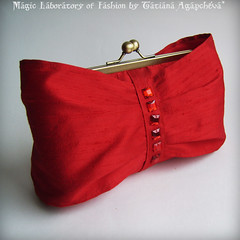 RED AND BOW Pure Luxury Handmade Dupioni Bridal Silk Clutch Wrapped with Bow   by ArtTiana{TianaCHE on Etsy}