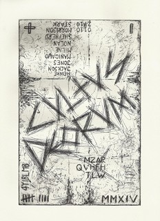 Zavier Ellis 'Cultus Deorum', 2014 Hard ground etching on 300 gsm Somerset soft white velvet paper (Ed. 50) 29.7x21cm