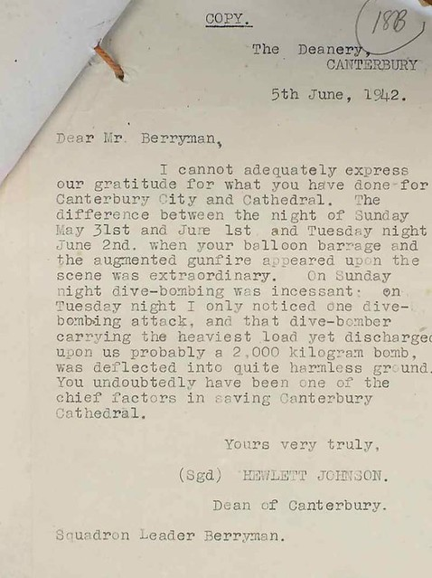 Letter From A Grateful Dean Of Canterbury, June 1942)