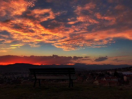 sunset nopeople bench nature sky beautyinnature scenics outdoors architecture mountain volcanoes auvergne auvergnerhonealpes myauvergne puydedôme chainedespuys city puydedome cloudsandsky skyandclouds clouds firesky tranquilscene sunsetcollection sunsetandclouds