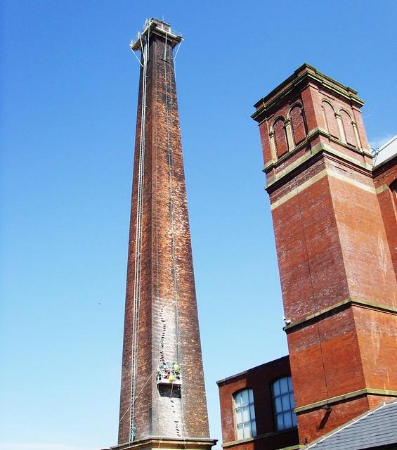 Centenary Mill chimney in Preston under repair