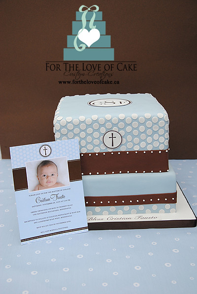 Baptism Cake to Match Tiny Prints Invitation