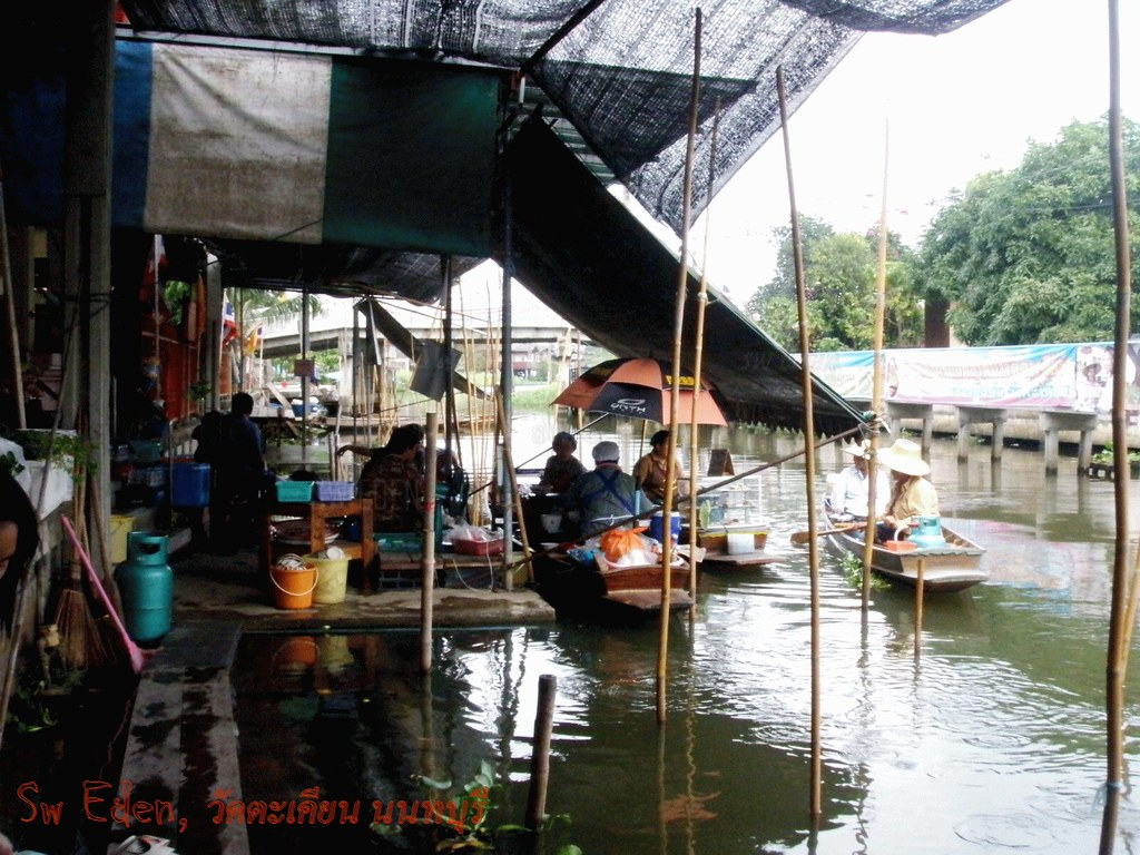 Thai floating market riverside local people and folk visitor places to visit tourism attraction