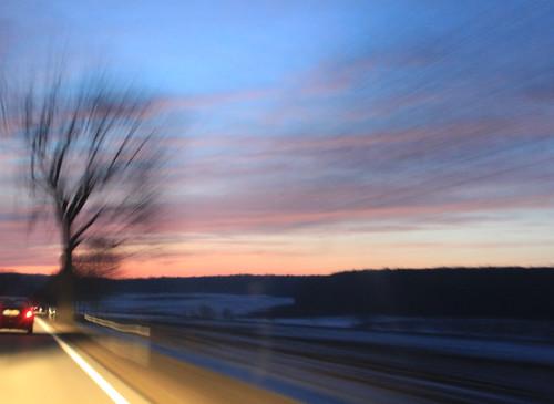 sunset sun car night evening spring driving