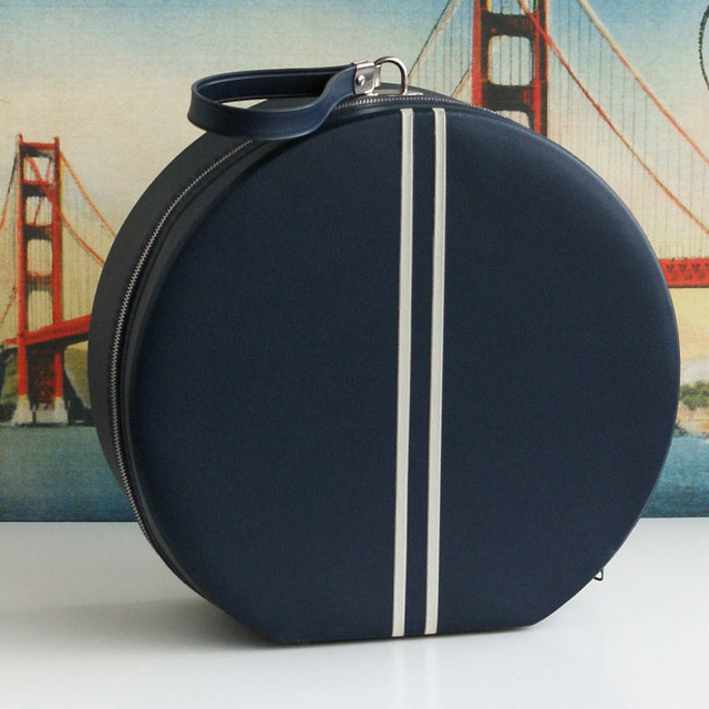 Vintage Round Blue Suitcase with White Stripes
