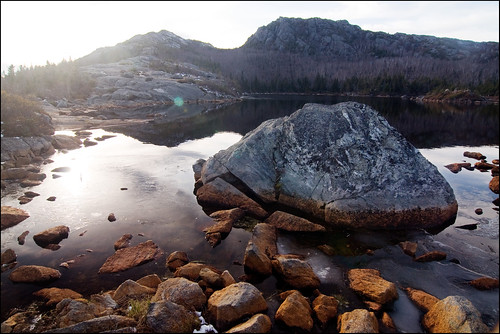 sunlight mountain nature water rock pond glare maine boulder tumbledownmountain westernmaine tumbledownpond