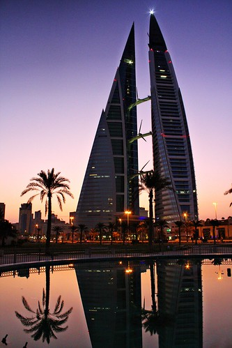 reflection sunrise bahrain towers twin wtc fotocompetition fotocompetitionbronze fotocompetitionsilver