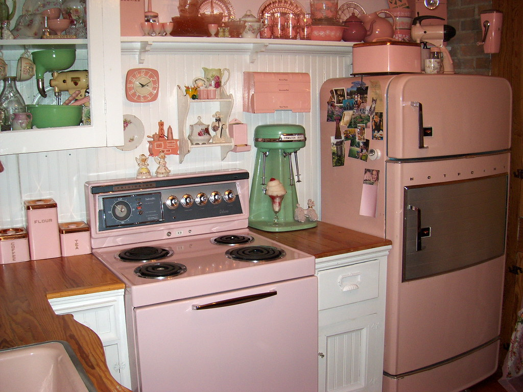 Pretty in pink 1950s kitchen by outhouse man